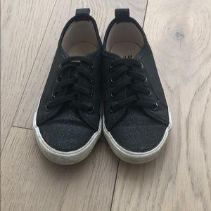 H&M Black glitter sneakers elastic lace US 9